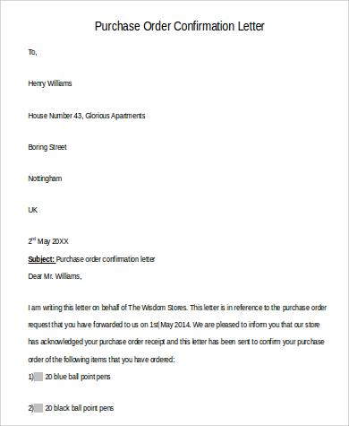102+ Letter Format Samples Sample Templates - purchase order letter format
