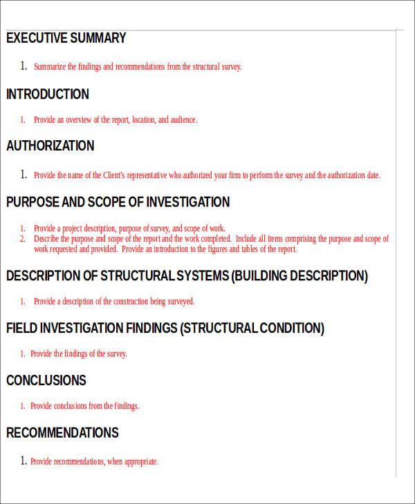 Construction site survey report template construction of