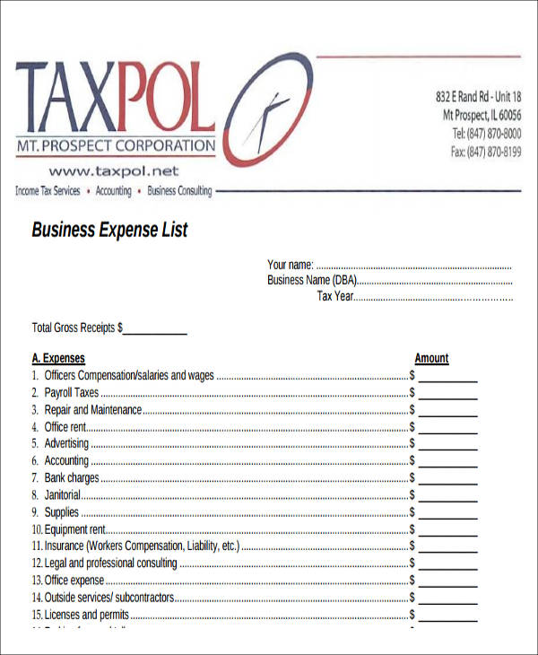 Sample Lists of Expense - 10+ Examples in Word, PDF - list of expenses
