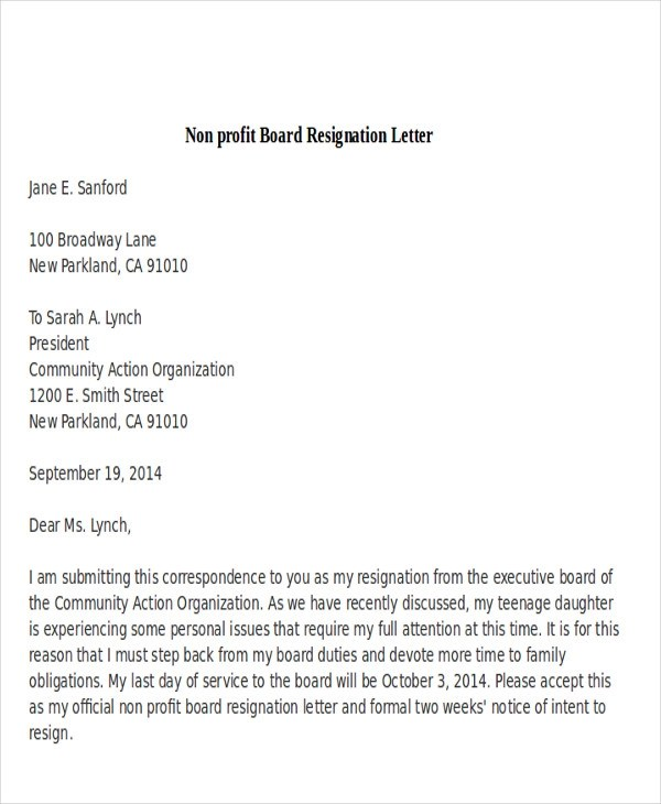 Resign from board letter radiotodorock board member resignation letter sample resignation letter format expocarfo Choice Image