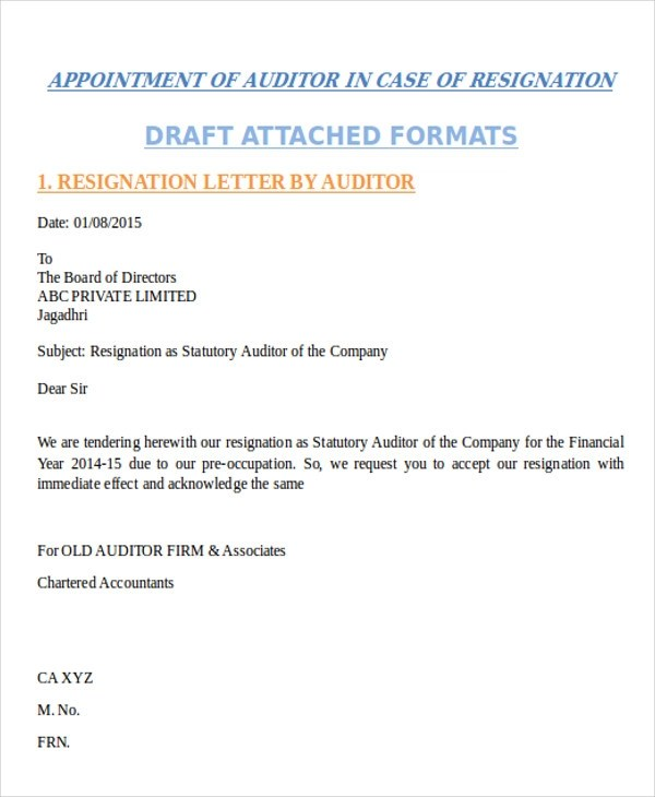 31 Resignation Letter Formats  Templates Sample Templates