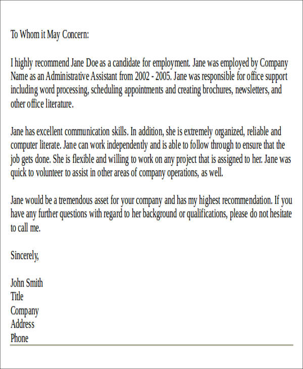 7+ Sample Personal Recommendation Letter - Free Sample, Example