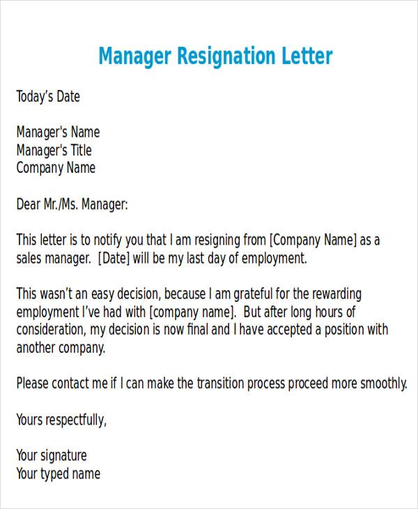 Waiter Resignation Letters Resignation Letter Format