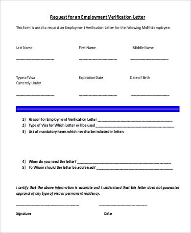 request for employment verification letter - Idealvistalist - employment verification form sample