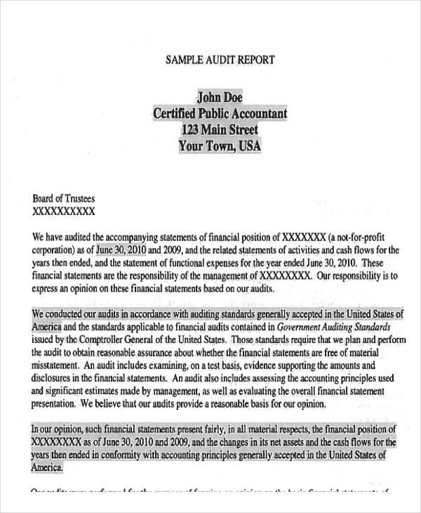 9+ Sample Audit Reports - Free PDF, Word Format Download