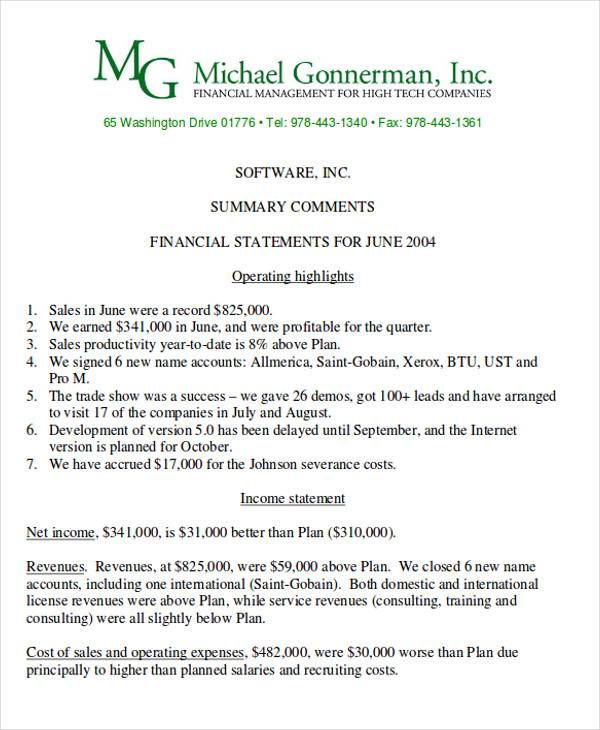 7+ Sample Financial Reports - Free Sample, Example, Format - monthly financial report sample
