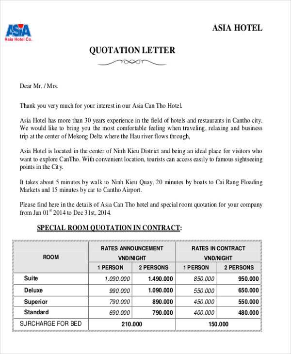 27+ Sample Quotation Letters - PDF, DOC - travel quotation sample