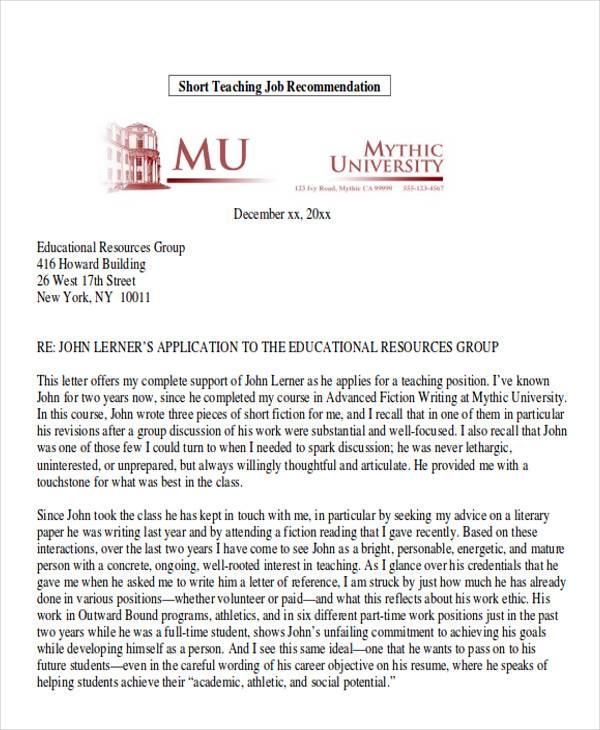 letter of recommendation for student teachers - Baskanidai - short letter of recommendation