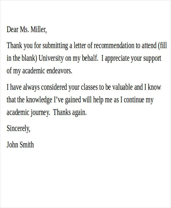 letter of recommendation examples for college