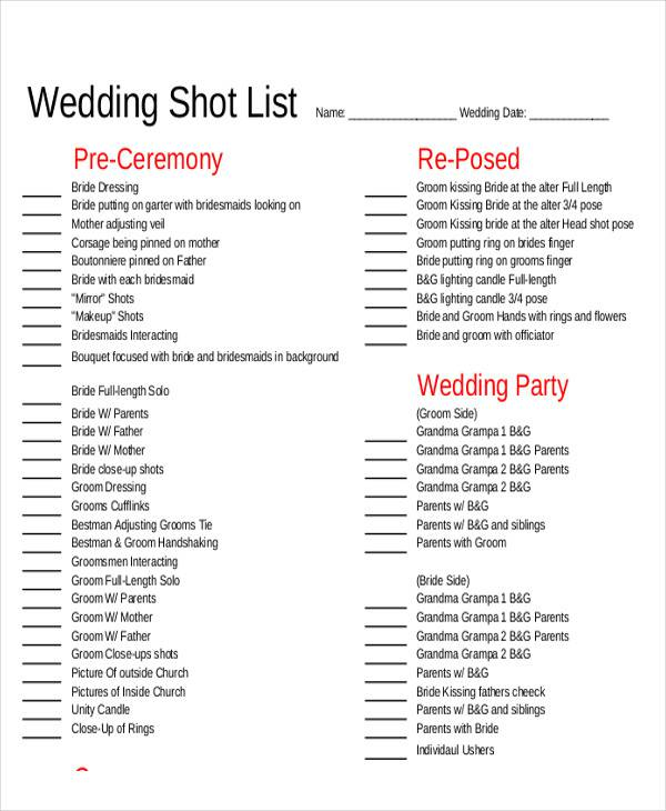 free list sample – Bridal Party List Template
