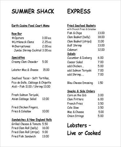 9+ Food Menu List Samples Sample Templates - menu list sample