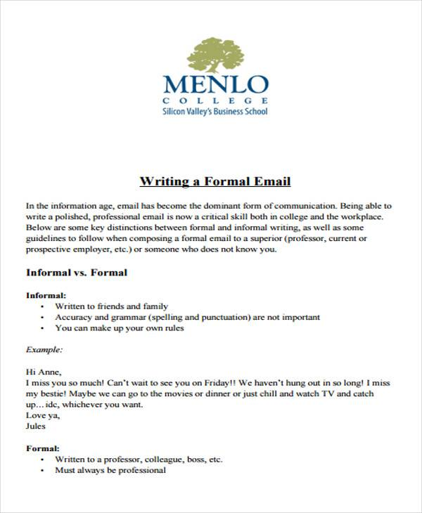 Sample Formal Letter Format - 34+ Examples in PDF, Word - professional letter and email writing guidelines