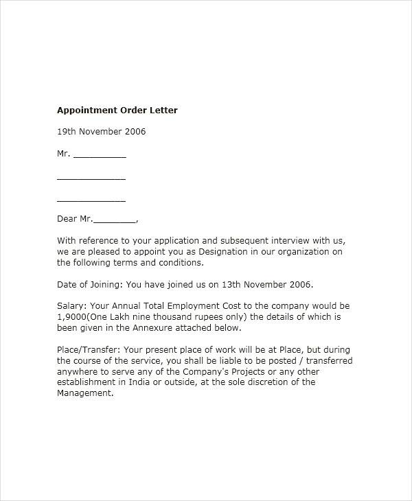 58+ Sample Appointment Letters -Word, Apple Pages, Google Docs