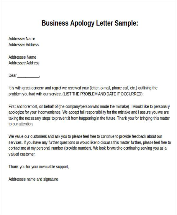 Sample Business Apology Letter  NodeCvresumePaasproviderCom