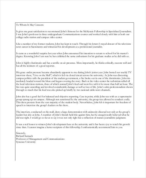 college recommendation letter template reference graduate schoolfree