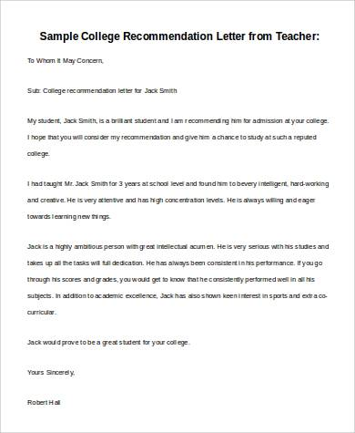 Basic Letter of Recommendation Samples - - 30+ Download Free