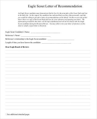 30+ Basic Letter of Recommendation Samples Sample Templates - eagle scout letter of recommendation