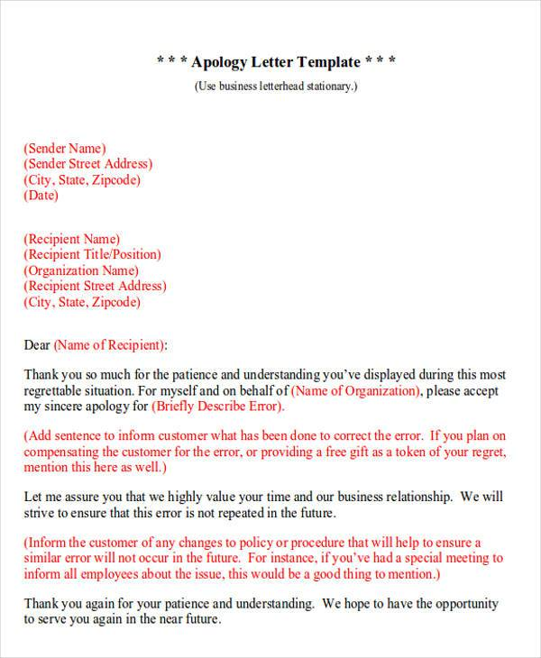 32+ Formal Apology Letters Sample Templates - formal apology letters
