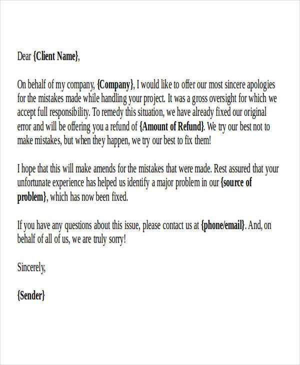 32+ Formal Apology Letters Sample Templates