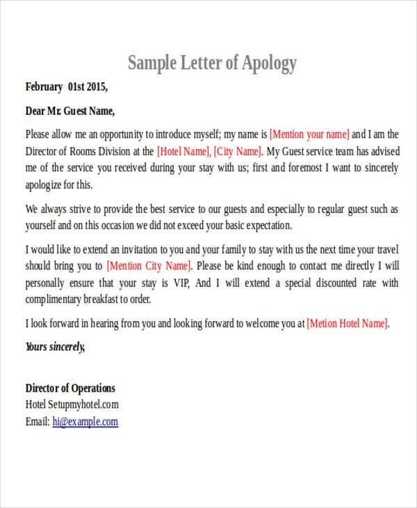 Formal Apology Letters - apology letter to family