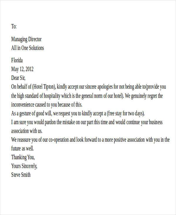 Apology Letter To Guest Hotel business letter template 8172416