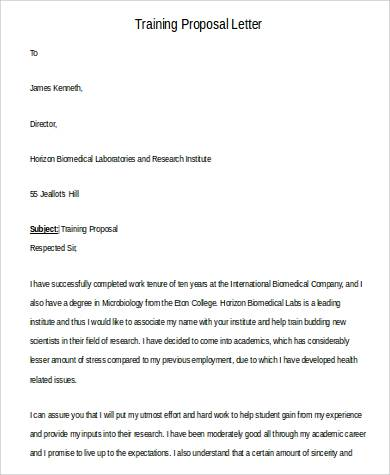 42+ Sample Proposal Letters Sample Templates - training proposal letter