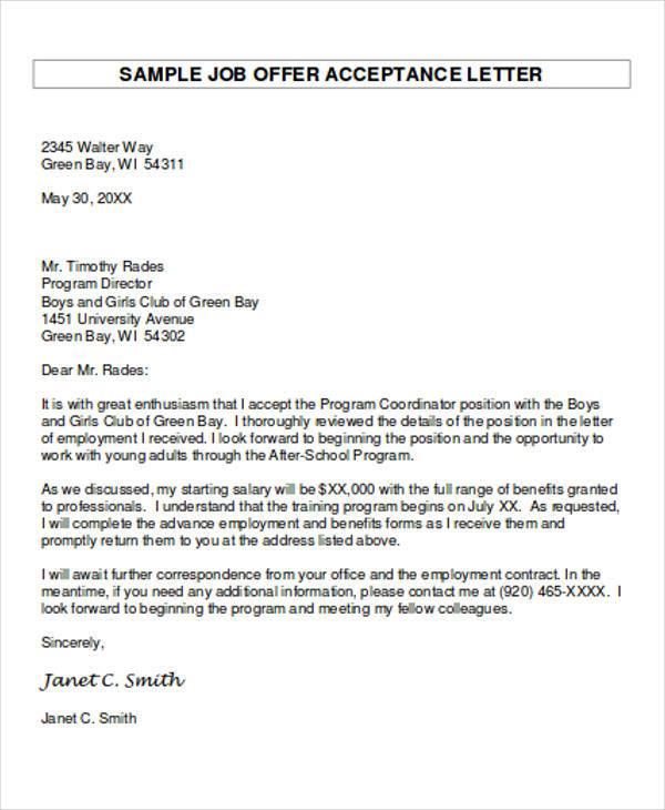 14+ Job Acceptance Letters