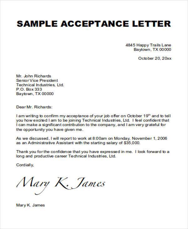 15+ Job Acceptance Letters Sample Templates