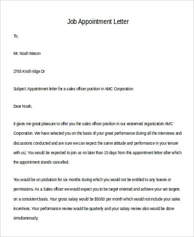 Sample Appointment Letter in Doc - 12+ Examples in Word