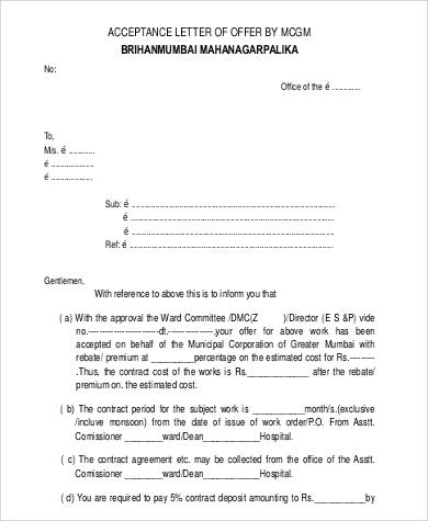 32+ Acceptance Letters in PDF Sample Templates - acceptance letters pdf