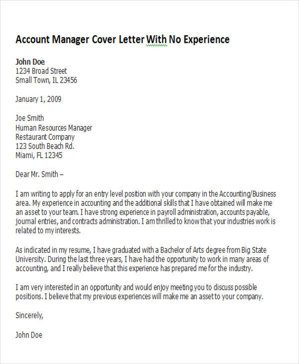 cover letter for entry level position no experience