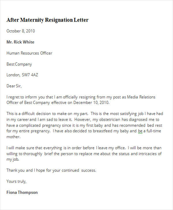 Making A Resignation Letter resignation letter format with notice - maternity resignation letter