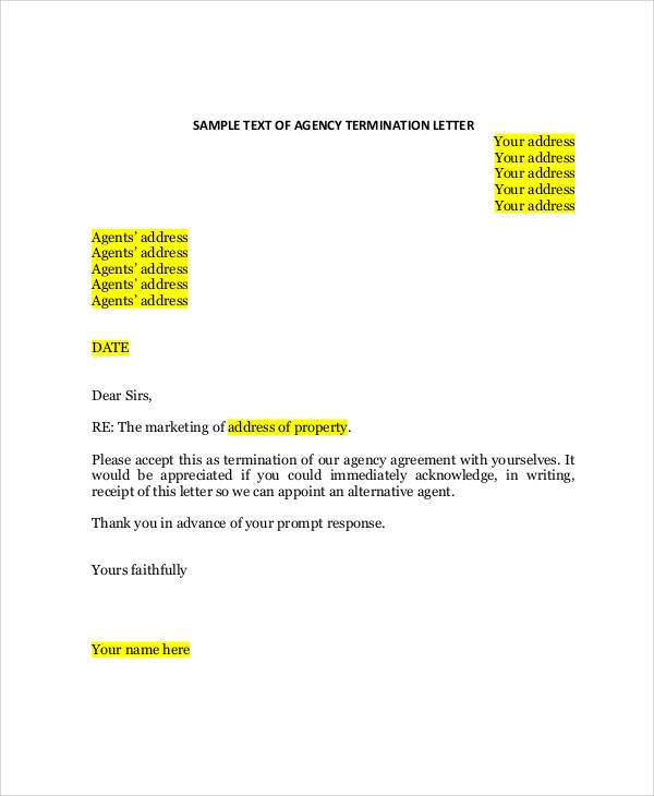 format for termination letter