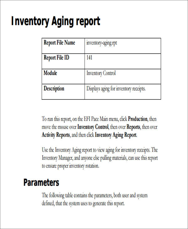 9+ Sample Inventory Reports Sample Templates