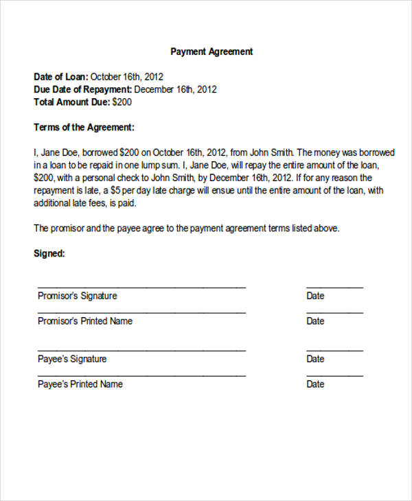 29 Payment Letter Formats Sample Templates - loan payment agreement template