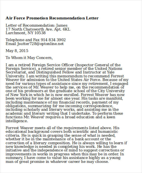 6+ Sample Air Force Recommendation Letter - Free Sample, Example - air force letter of recommendation