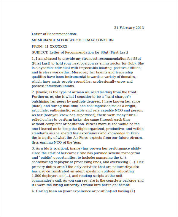 6 Sample Air Force Recommendation Letter Samples  Templates - air force letter of recommendation
