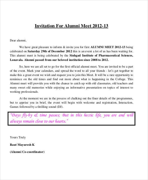 Invitation letter alumni meet professional resumes sample online invitation letter alumni meet invitation letter for alumni meet 2012 dear alumni its invitation for alumni stopboris Images