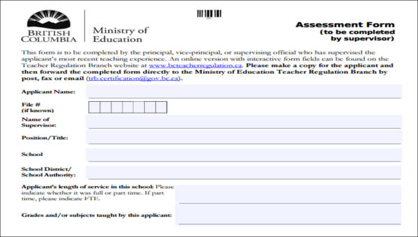 39 Assessment Forms in PDF