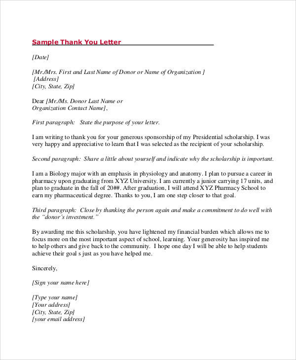 ... Award Thank You Letter Sample   9 Examples In Word, PDF   Graduation  Thank ...