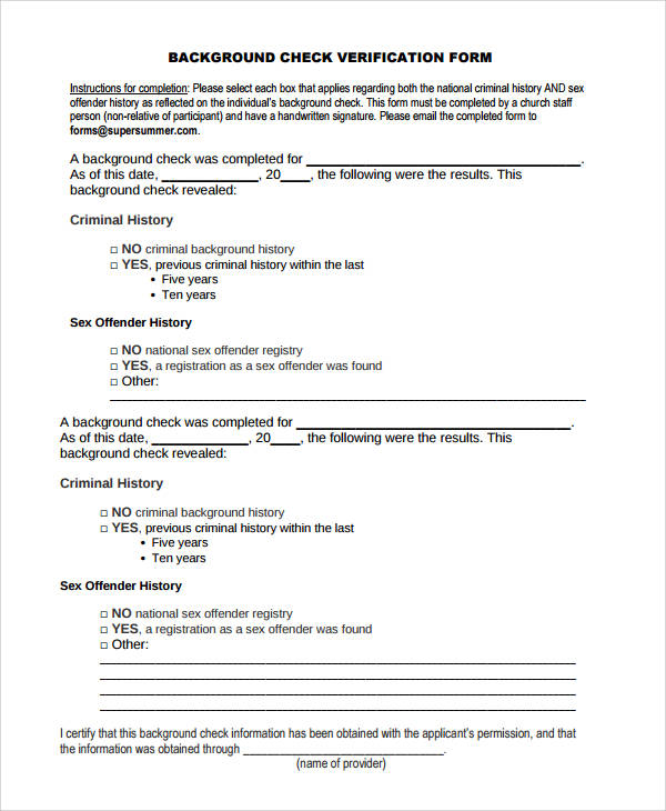 50+ Sample Verification Forms Sample Templates - background check form