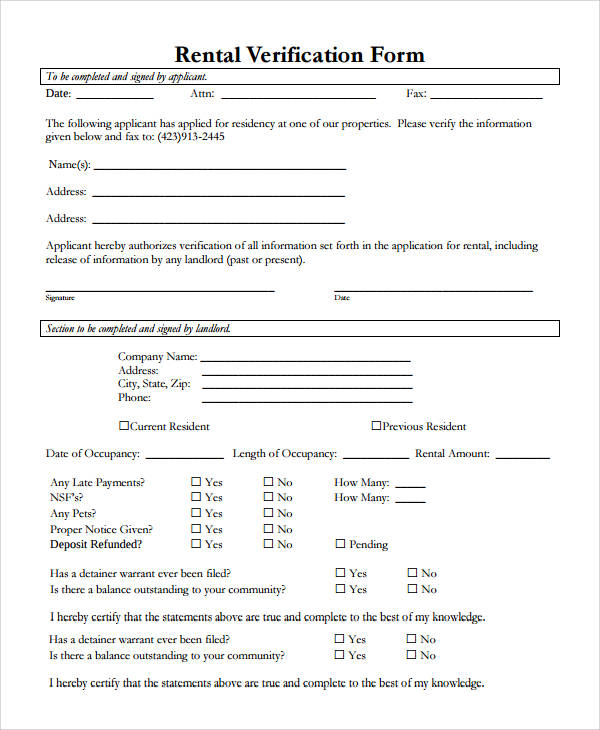 50+ Sample Verification Forms Sample Templates - rental verification form