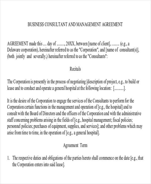 business management agreement efficiencyexperts - business consultant agreement