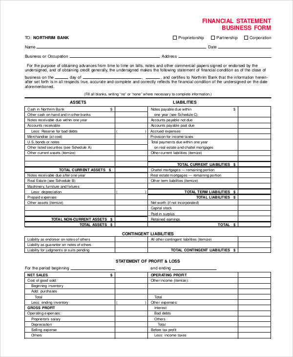 55+ Printable Statement Forms Sample Templates - business financial statement form