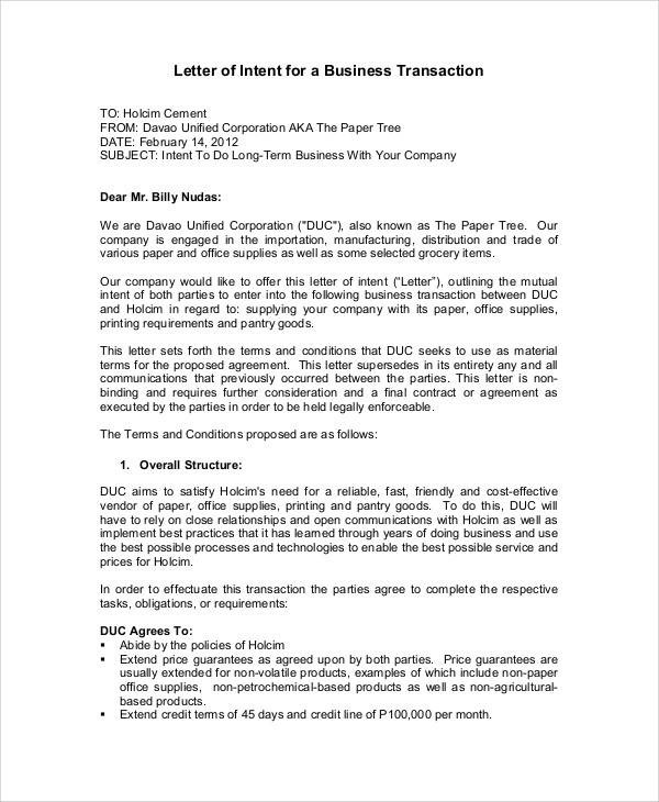 37+ Sample Business Letters in PDF Sample Templates - business letter of intent