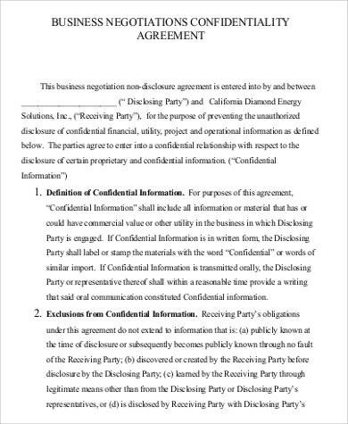 53+ Confidentiality Agreement in PDF Sample Templates - business non disclosure agreement