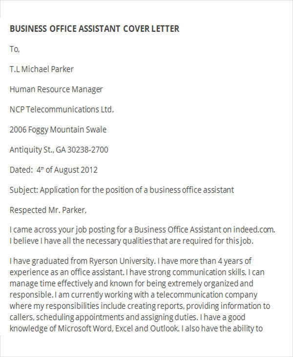 sample office assistant cover letter