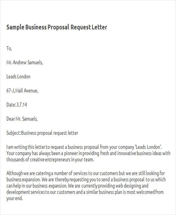 ... 33+ Proposal Letter Format Samples   Proposal Request Letter ...