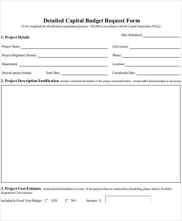Sample Budget Form