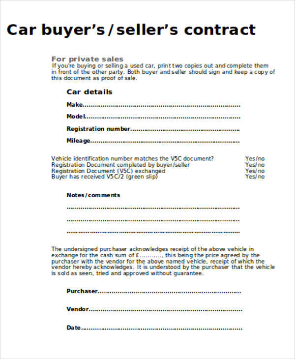 Sample Car Sales Contract - 8+ Examples in Word, PDF - sales contract